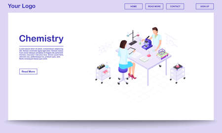 Chemistry lab staff isometric landing page template. Male scientist studying substance sample in microscope in medical laboratory. Female assistant, colleague making notes of experiment result   Stock Illustratie