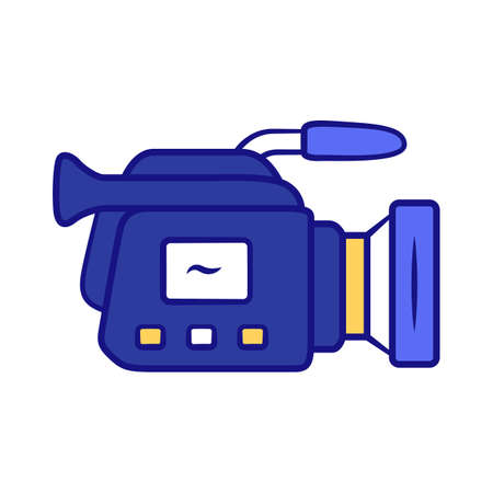 Camera blue color icon. Camcorder. Videotaping, video recording. Filmmaking professional equipment. Video production, cinematography industry. Isolated vector illustration Vektorové ilustrace