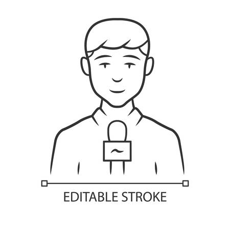 Reporter man linear icon. TV presenter, interviewer with microphone. TV host. Journalist taking interview. Thin line illustration. Contour symbol. Vector isolated outline drawing. Editable stroke
