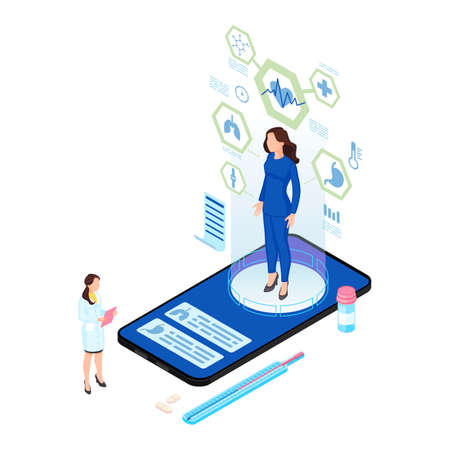 Remote body scanning isometric illustration. Patient hologram with internal organs analysis. Futuristic telemedicine with augmented reality options. Doctor, physician analysing client health condition
