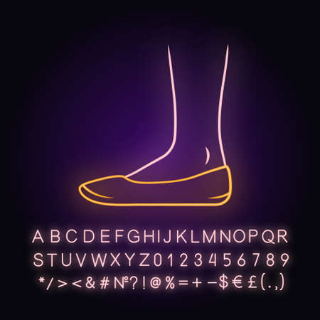 Ballerinas neon light icon. Woman stylish formal footwear design. Female casual flats, modern everyday ballet shoes. Glowing sign with alphabet, numbers and symbols. Vector isolated illustration Çizim