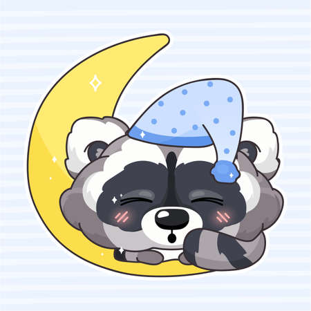 Cute raccoon kawaii cartoon vector character. Adorable and funny animal sleeping isolated sticker, patch. Night time, bedtime. Anime baby raccoon in night hat, cap with moon emoji on blue background Иллюстрация