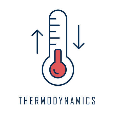 Thermodynamics color icon. Temperature fluctuations. Thermal effects. Heating and cooling physical processes. Thermometer measurement. Thermodynamical system research. Isolated vector illustration