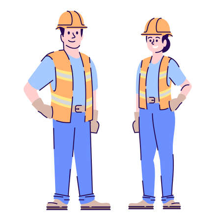 Builders couple flat vector characters. Construction workers, handyman cartoon illustration with outline. Woman and man contractors, engineers in uniform and protective helmet isolated on white Çizim