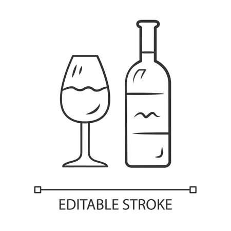 Wine linear icon. Bottle and classic footed glass with wine. Vine tasting. Alcoholic beverage. Thin line illustration. Contour symbol. Vector isolated outline drawing. Editable stroke