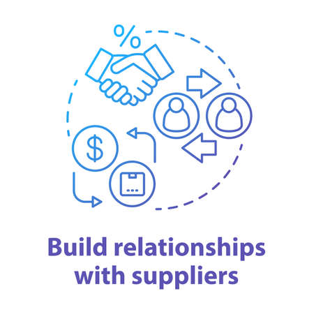 Build relationships with suppliers blue concept icon. Business agreement idea thin line illustration. Dropshipping management, networking. Companies collaboration. Vector isolated outline drawing