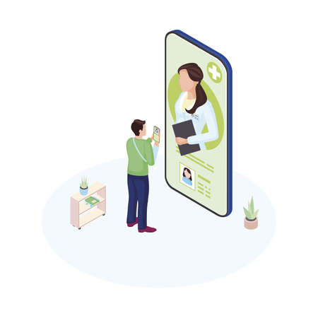 Ehealth smartphone app isometric illustration. Male patient communicating with personal medical specialist cartoon character. Doctor consulting client online. Futuristic healthcare system