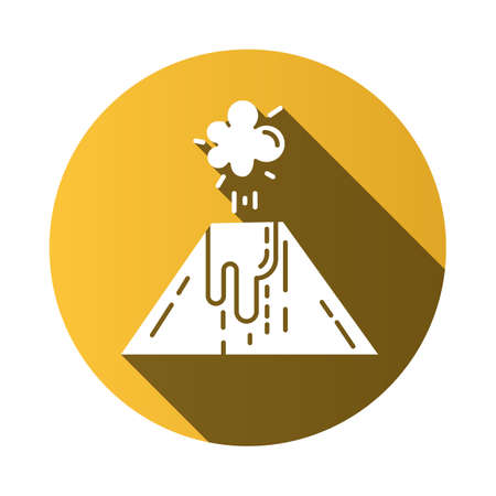 Volcanic eruption yellow flat design long shadow glyph icon. Smoke, ash and lava emission from volcano. Seismic hazard. Geological disaster. Natural catastrophe. Vector silhouette illustration Illustration