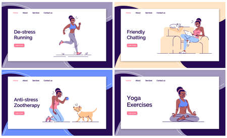 Stress management landing page vector template set. Mental health website interface idea with flat illustrations. Mental pressure cope homepage layout. Destress web banner, webpage cartoon concept