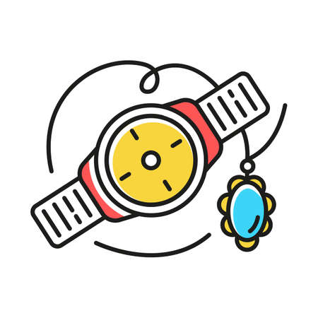 Jewelry and watches color icon. Different luxury accessories. Necklace, bracelet with precious stone. Fashion details. E commerce department, shopping categories. Isolated vector illustration