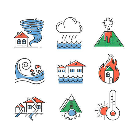 Natural disaster color icons set. Environmental hazards. Earthquake, wildfire, tsunami, tornado, avalanche, flood, downpour, volcanic eruption, drought. Global problem. Isolated vector illustrations