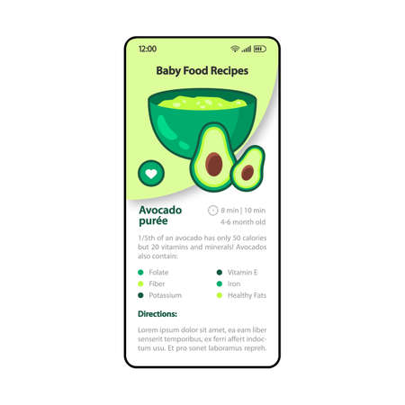 Baby food recipes smartphone interface vector template. Mobile cooking app page green and white design layout. Avocado puree screen. Flat UI for application. Healthy meal cooking. Phone display