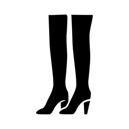 Thigh high boots glyph icon. Woman stylish formal footwear design. Female casual stacked heels, luxury modern shoes. Clothing accessory. Silhouette symbol. Negative space. Vector isolated illustration Ilustração