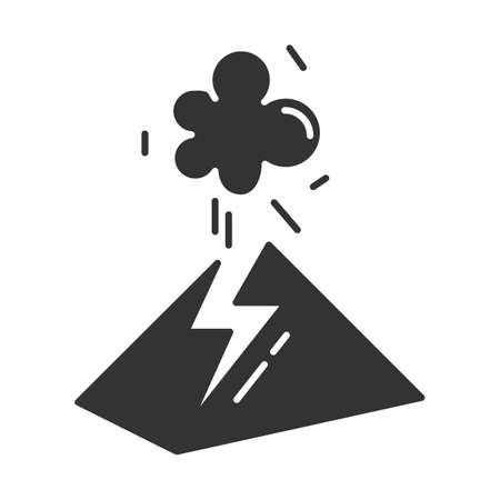 Volcanic eruption glyph icon. Geothermal power. Active volcano explosion. Geological disaster. Smoke and ash emission from mountain. Silhouette symbol. Negative space. Vector isolated illustration