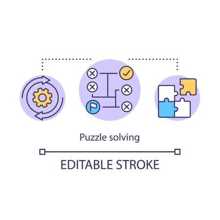 Puzzle solving concept icon. Game algorithm idea thin line illustration. Jigsaw puzzle. Searching solution. Rational, logical thinking. Vector isolated outline drawing. Editable stroke Illustration