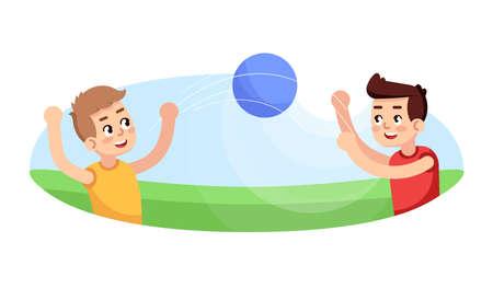 Garçons jouant au ballon illustration vectorielle plane. Jeu extérieur. Section sportive pour les enfants. Loisirs actifs pour les enfants. Activités extra-scolaires. Personnages de dessins animés de leçon d'éducation physique de jeunes sportifs