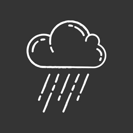 Downpour chalk icon. Rainstorm. Cloud, heavy rainfall. Torrential, pouring rain. Meteorological phenomenon. Weather event. Monsoon. Rainy season. Isolated vector chalkboard illustration