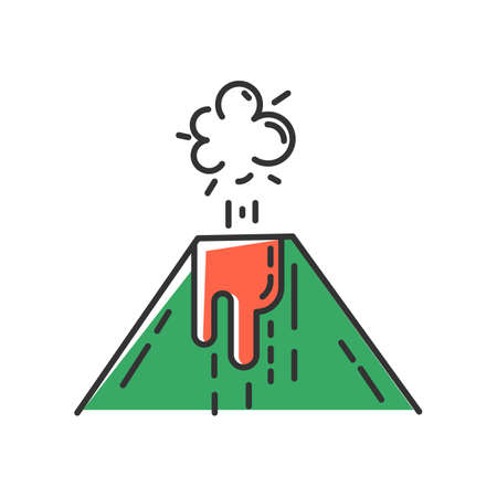 Volcanic eruption green color icon. Smoke, ash and lava emission from volcano. Geothermal energy explosion. Seismic hazard. Geological disaster. Natural catastrophe. Isolated vector illustration