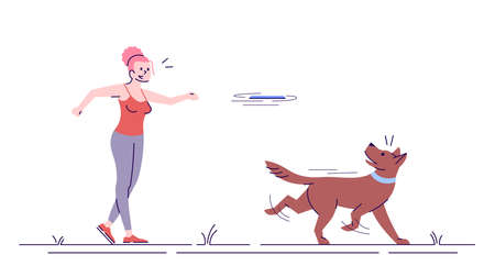 Happy caucasian girl playing with dog flat vector illustration. Outdoor activity. Young joyful woman throwing toy to pet isolated cartoon character with outline elements on white background