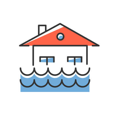 Flood blue color icon. Overflow of water. Sinking house. Submerged building. Flooding locality. Sea level rise. Natural disaster. Isolated vector illustration