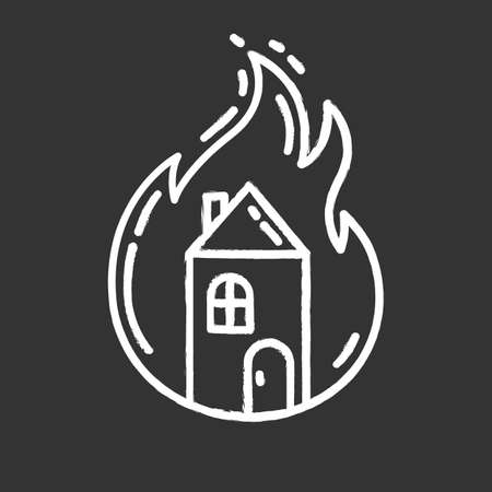 House on fire chalk icon. Burning building. Arson of property. Home combustion. Dwelling conflagration. Ignoring fire safety regulations. Insurance case. Isolated vector chalkboard illustration Ilustração