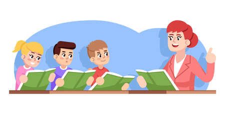 Rehearsal of children choir flat vector illustration. Kids ensemble. Music school performance. Extracurricular activities. Girl and boys ready to sing, teacher conducting cartoon characters