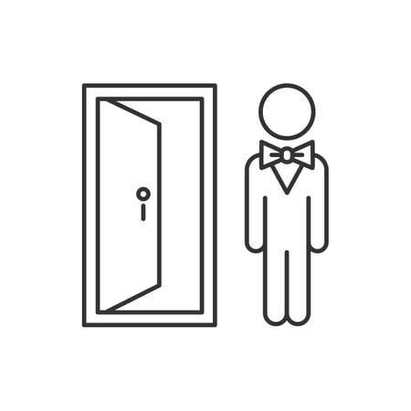 Doorman linear icon. Hotel entrance concierge service. Motel door person, butler, bellboy. Lobby manager, servant. Thin line contour symbols. Isolated vector outline illustration. Editable stroke