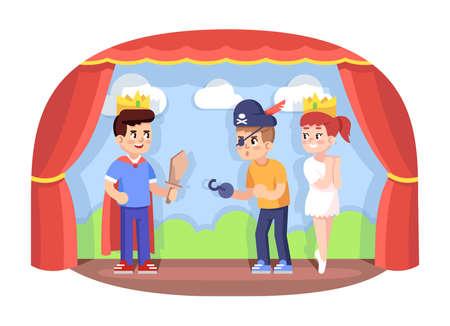 Ilustración de vector plano de club de drama infantil. Obra de la escuela. Compañía de teatro joven. Actividades extracurriculares. Desarrollo de habilidades actoral. Niños actuando en personajes de dibujos animados de escenario.