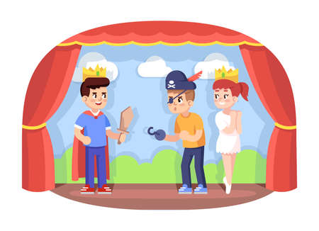 Children drama club flat vector illustration. School play. Young theatre troupe. Extracurricular activities. Development of acting skills. Kids acting performance on stage cartoon characters Illustration