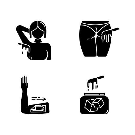 Waxing glyph icons set. Armpit, arm body hair removal. Natural soft sugar wax in jar. Cold depilation strips. Professional beauty treatment cosmetics. Silhouette symbols. Vector isolated illustration Vettoriali
