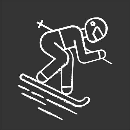 Skiing chalk icon. Winter extreme sport, risky activity and adventure. Cold seasonal outdoor dangerous leisure and hobby. Skier downhill freestyle ride. Isolated vector chalkboard illustration