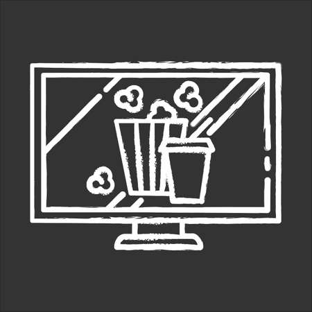 Movies and television chalk icon. Watching films, tv shows. Modern online video technology. Popcorn and drinks. E commerce department, shopping categories. Isolated vector chalkboard illustration