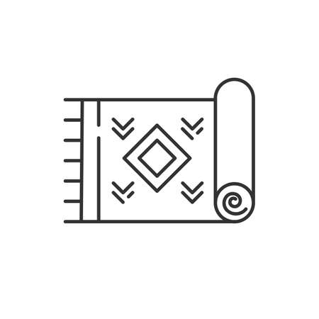 Home carpet linear icon. Cozy corridor, hallway, room floor rug. Interior design element. Textile item. Doormat, kilim. Thin line contour symbols. Isolated vector outline illustration. Editable stroke Illustration