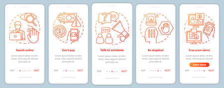 Scam prevention onboarding mobile app page screen vector template. Walkthrough website steps with linear illustrations. Search online. UX, UI, GUI smartphone interface concept