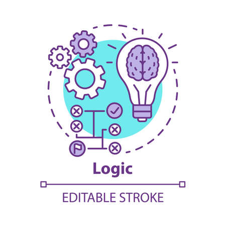 Logic concept icon. Thinking process thin line illustration. Rational solutions, ideas. Situation analysis. Strategy, algorithm. Solving problems. Vector isolated outline drawing. Editable stroke Illustration