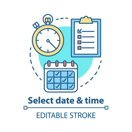 Select date and time concept icon. Choose day thin line illustration. ?eservation, booking. Time management and scheduling. Calendar and stopwatch. Vector isolated outline drawing. Editable stroke