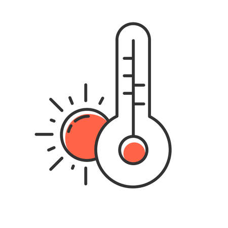 Weather forecast red color icon. Anticyclone. Drought. Atmospheric conditions and air temperature. Sun and thermometer. Meteorological observations. Global warming. Isolated vector illustration