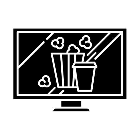 Movies and television glyph icon. Watching films, tv shows online. Popcorn and drinks. E commerce department, shopping categories. Silhouette symbol. Negative space. Vector isolated illustration