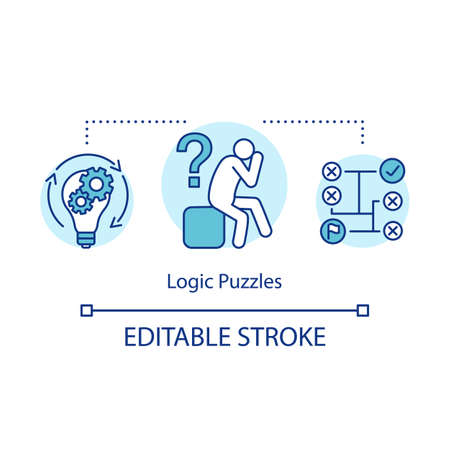 Logic puzzles concept icon. Strategy thinking game idea thin line illustration. Logical problem solution. Rational solving algorithm. Vector isolated outline drawing. Editable stroke