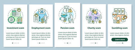 Scam types onboarding mobile app page screen with linear concepts. Five walkthrough steps graphic instructions. Investment and employment fraud. UX, UI, GUI vector template with illustrations