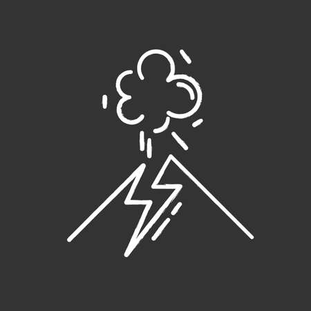 Volcanic eruption chalk icon. Geothermal power. Active volcano explosion. Geological disaster. Seismically hazardous area. Smoke and ash emission from mountain. Isolated vector chalkboard illustration