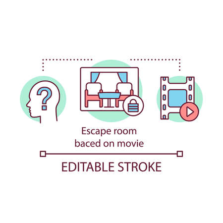 Escape room based on movie concept icon. Film quest idea thin line illustration. Logical game. Solving puzzle, riddle Cinematography theme. Vector isolated outline drawing. Editable stroke