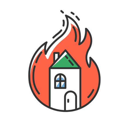 House on fire red color icon. Burning building. Arson of property. Home combustion. Dwelling conflagration. Ignoring fire safety regulations. Insurance case. Isolated vector illustration