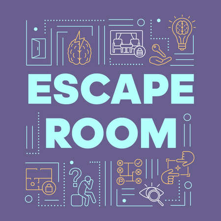Escape room violet word concepts banner. Solving problems, mysteries presentation, website. Strategy games, quest isolated lettering typography idea with linear icons. Vector outline illustration