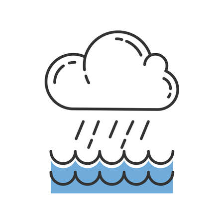 Downpour blue color icon. Cloud, heavy rainfall, incoming water. Rainstorm. Torrential, pouring rain over of water. Meteorological phenomenon. Monsoon season. Isolated vector illustration
