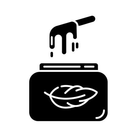 Soft waxing glyph icon. Natural cold wax in jar with spatula. Body hair removal equipment. Tools for depilation. Beauty treatment. Silhouette symbol. Negative space. Vector isolated illustration