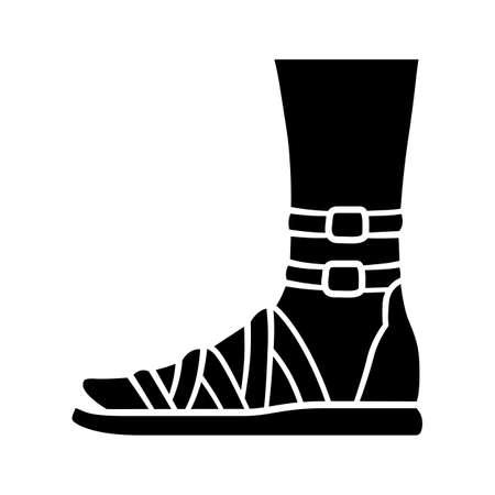 Ikona glifów sandały gladiatorki. Kobieta stylowy projekt obuwia. Kobiece buty na co dzień, nowoczesne letnie mieszkania z bocznym widokiem na pasek na kostkę. Sylwetka symbol. Negatywna przestrzeń. Ilustracja wektorowa na białym tle