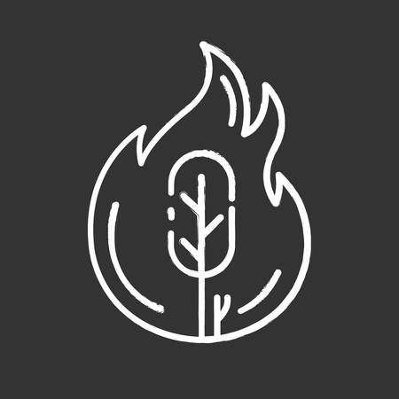 Wildfire chalk icon. Burning tree. Natural disaster. Ecological problem. Human negligence, arson. Environmental protection. Danger of fire in forest. Isolated vector chalkboard illustration Illustration