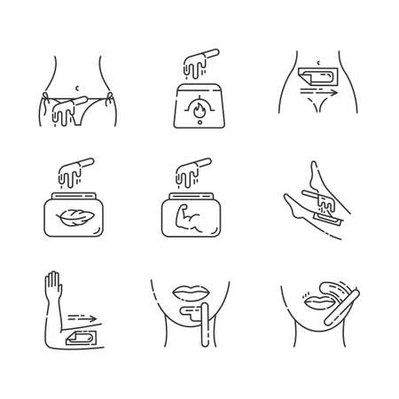 Waxing linear icons set. Bikini, leg, upper lip, chin hair removal. Hot wax in jar with spatula. Depilation equipment. Thin line contour symbols. Isolated vector outline illustrations. Editable stroke