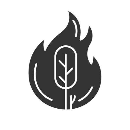 Wildfire glyph icon. Burning tree. Natural disaster. Ecological problem. Human negligence, arson. Environmental protection. Silhouette symbol. Negative space. Vector isolated illustration Illustration